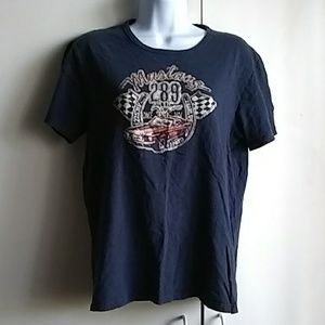 Lucky Brand Ford Mustang Blue size L Women's Tee